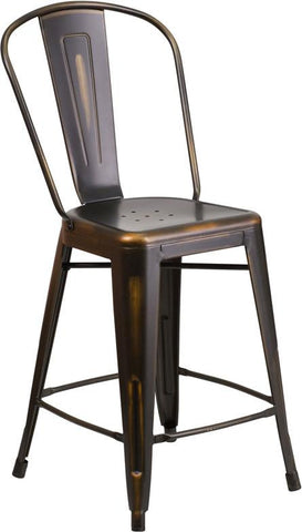 Flash Furniture ET-3534-24-COP-GG 24'' High Distressed Copper Metal Indoor Counter Height Stool with Back - Peazz Furniture