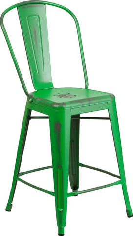 Flash Furniture ET-3534-24-GN-GG 24'' High Distressed Green Metal Indoor Counter Height Stool with Back - Peazz Furniture