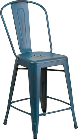 Flash Furniture ET-3534-24-KB-GG 24'' High Distressed Kelly Blue Metal Indoor Counter Height Stool with Back - Peazz Furniture