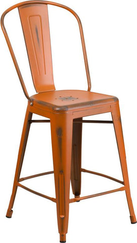 Flash Furniture ET-3534-24-OR-GG 24'' High Distressed Orange Metal Indoor Counter Height Stool with Back - Peazz Furniture