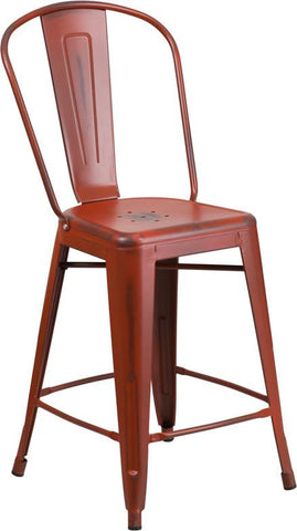 Flash Furniture ET-3534-24-RD-GG 24'' High Distressed Kelly Red Metal Indoor Counter Height Stool with Back - Peazz Furniture