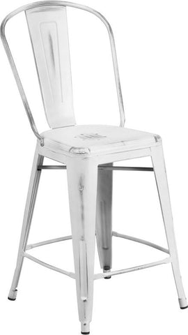 Flash Furniture ET-3534-24-WH-GG 24'' High Distressed White Metal Indoor Counter Height Stool with Back - Peazz Furniture