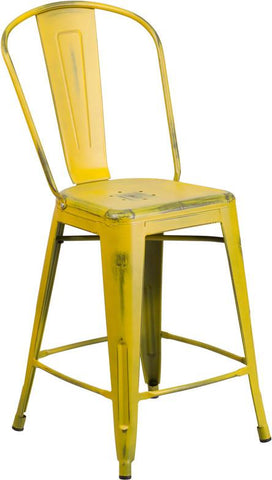 Flash Furniture ET-3534-24-YL-GG 24'' High Distressed Yellow Metal Indoor Counter Height Stool with Back - Peazz Furniture