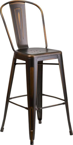 Flash Furniture ET-3534-30-COP-GG 30'' High Distressed Copper Metal Indoor Barstool with Back - Peazz Furniture