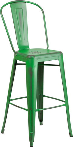 Flash Furniture ET-3534-30-GN-GG 30'' High Distressed Green Metal Indoor Barstool with Back - Peazz Furniture