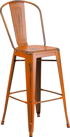 Flash Furniture ET-3534-30-OR-GG 30'' High Distressed Orange Metal Indoor Barstool with Back - Peazz Furniture