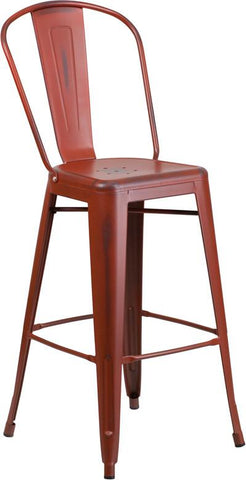 Flash Furniture ET-3534-30-RD-GG 30'' High Distressed Kelly Red Metal Indoor Barstool with Back - Peazz Furniture