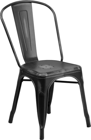 Flash Furniture ET-3534-BK-GG Distressed Black Metal Indoor Stackable Chair - Peazz Furniture