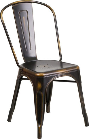 Flash Furniture ET-3534-COP-GG Distressed Copper Metal Indoor Stackable Chair - Peazz Furniture