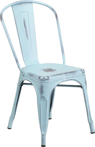 Flash Furniture ET-3534-DB-GG Distressed Dream Blue Metal Indoor Stackable Chair - Peazz Furniture