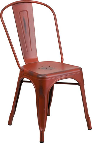 Flash Furniture ET-3534-RD-GG Distressed Kelly Red Metal Indoor Stackable Chair - Peazz Furniture