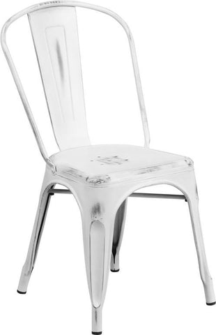 Flash Furniture ET-3534-WH-GG Distressed White Metal Indoor Stackable Chair - Peazz Furniture