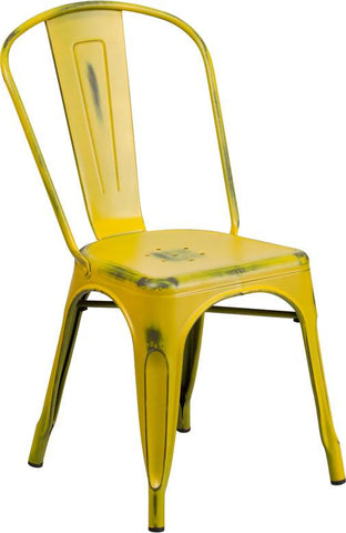 Flash Furniture ET-3534-YL-GG Distressed Yellow Metal Indoor Stackable Chair - Peazz Furniture