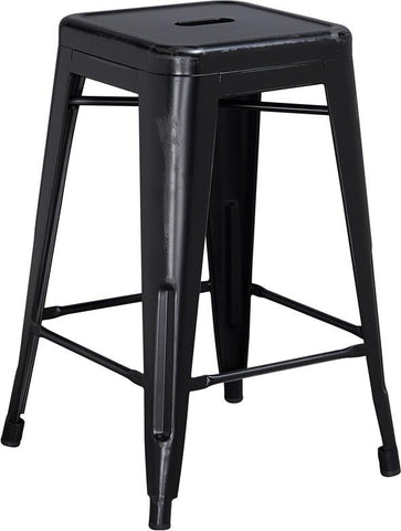 Flash Furniture ET-BT3503-24-BK-GG 24'' High Backless Distressed Black Metal Indoor Counter Height Stool - Peazz Furniture