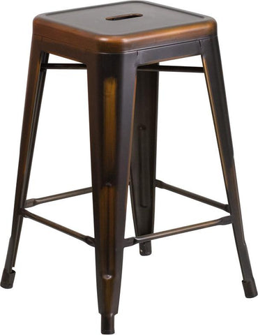 Flash Furniture ET-BT3503-24-COP-GG 24'' High Backless Distressed Copper Metal Indoor Counter Height Stool - Peazz Furniture