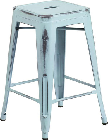 Flash Furniture ET-BT3503-24-DB-GG 24'' High Backless Distressed Dream Blue Metal Indoor Counter Height Stool - Peazz Furniture