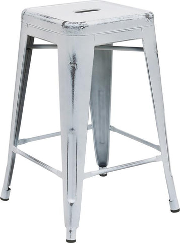 Flash Furniture ET-BT3503-24-WH-GG 24'' High Backless Distressed White Metal Indoor Counter Height Stool - Peazz Furniture