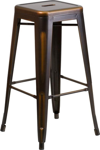 Flash Furniture ET-BT3503-30-COP-GG 30'' High Backless Distressed Copper Metal Indoor Barstool - Peazz Furniture