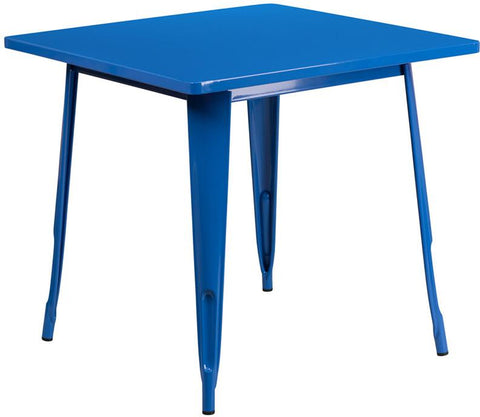 Flash Furniture ET-CT002-1-BL-GG 31.5'' Square Blue Metal Indoor Table - Peazz Furniture