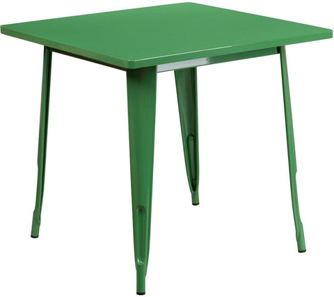 Flash Furniture ET-CT002-1-GN-GG 31.5'' Square Green Metal Indoor Table - Peazz Furniture