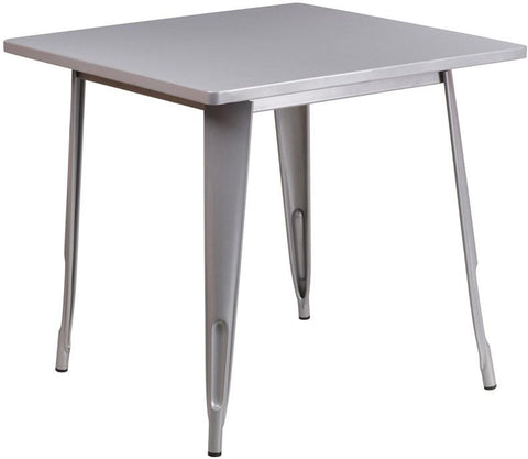 Flash Furniture ET-CT002-1-SIL-GG 31.5'' Square Silver Metal Indoor Table - Peazz Furniture