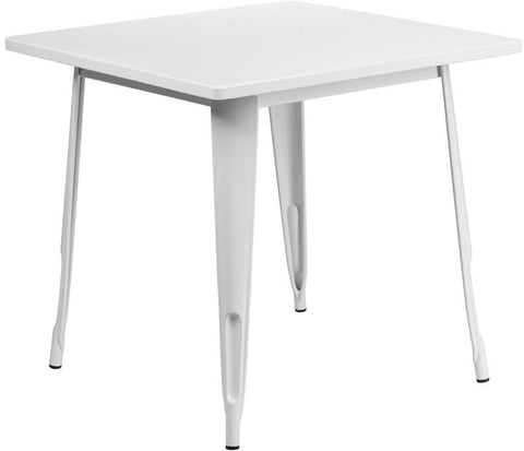 Flash Furniture ET-CT002-1-WH-GG 31.5'' Square White Metal Indoor Table - Peazz Furniture