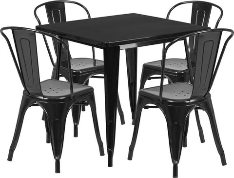 Flash Furniture ET-CT002-4-30-BK-GG 31.5'' Square Black Metal Indoor Table Set with 4 Stack Chairs - Peazz Furniture