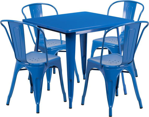 Flash Furniture ET-CT002-4-30-BL-GG 31.5'' Square Blue Metal Indoor Table Set with 4 Stack Chairs - Peazz Furniture