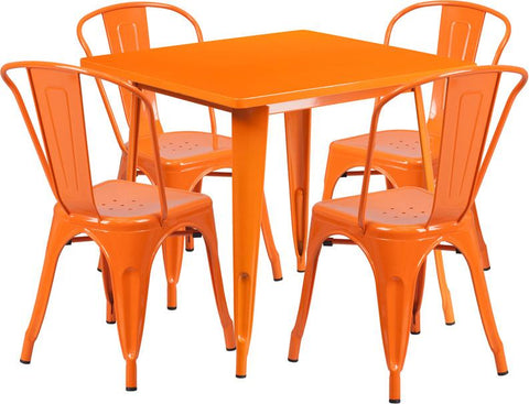Flash Furniture ET-CT002-4-30-OR-GG 31.5'' Square Orange Metal Indoor Table Set with 4 Stack Chairs - Peazz Furniture