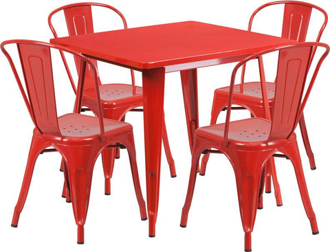 Flash Furniture ET-CT002-4-30-RED-GG 31.5'' Square Red Metal Indoor Table Set with 4 Stack Chairs - Peazz Furniture
