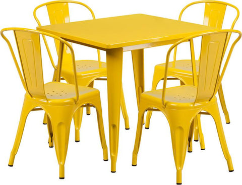 Flash Furniture ET-CT002-4-30-YL-GG 31.5'' Square Yellow Metal Indoor Table Set with 4 Stack Chairs - Peazz Furniture