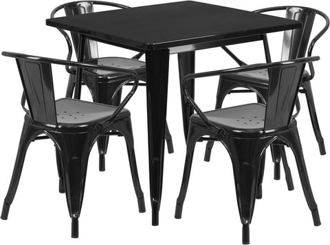 Flash Furniture ET-CT002-4-70-BK-GG 31.5'' Square Black Metal Indoor Table Set with 4 Arm Chairs - Peazz Furniture