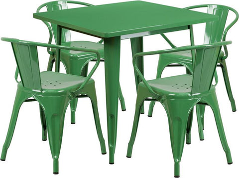 Flash Furniture ET-CT002-4-70-GN-GG 31.5'' Square Green Metal Indoor Table Set with 4 Arm Chairs - Peazz Furniture