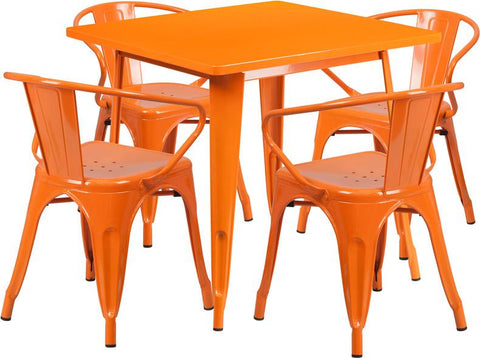 Flash Furniture ET-CT002-4-70-OR-GG 31.5'' Square Orange Metal Indoor Table Set with 4 Arm Chairs - Peazz Furniture