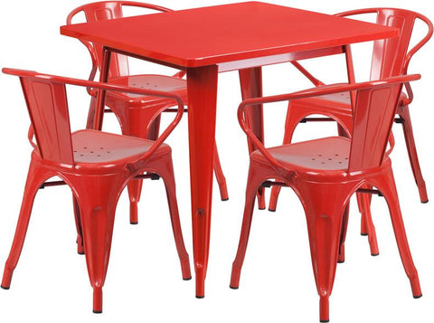 Flash Furniture ET-CT002-4-70-RED-GG 31.5'' Square Red Metal Indoor Table Set with 4 Arm Chairs - Peazz Furniture