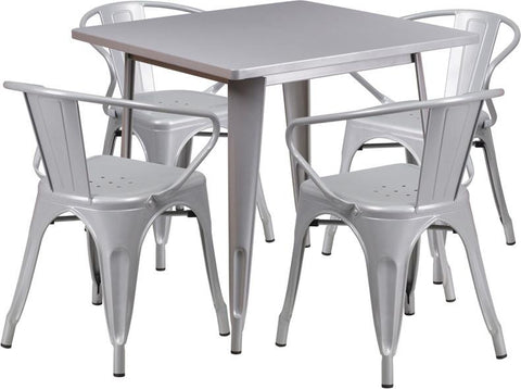 Flash Furniture ET-CT002-4-70-SIL-GG 31.5'' Square Silver Metal Indoor Table Set with 4 Arm Chairs - Peazz Furniture