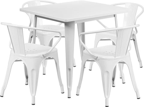 Flash Furniture ET-CT002-4-70-WH-GG 31.5'' Square White Metal Indoor Table Set with 4 Arm Chairs - Peazz Furniture