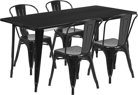 Flash Furniture ET-CT005-4-30-BK-GG 31.5'' x 63'' Rectangular Black Metal Indoor Table Set with 4 Stack Chairs - Peazz Furniture