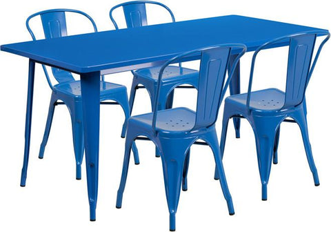 Flash Furniture ET-CT005-4-30-BL-GG 31.5'' x 63'' Rectangular Blue Metal Indoor Table Set with 4 Stack Chairs - Peazz Furniture