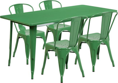Flash Furniture ET-CT005-4-30-GN-GG 31.5'' x 63'' Rectangular Green Metal Indoor Table Set with 4 Stack Chairs - Peazz Furniture
