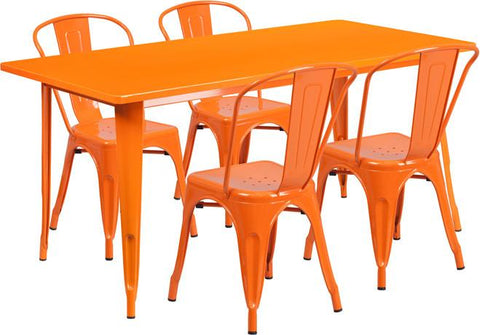 Flash Furniture ET-CT005-4-30-OR-GG 31.5'' x 63'' Rectangular Orange Metal Indoor Table Set with 4 Stack Chairs - Peazz Furniture