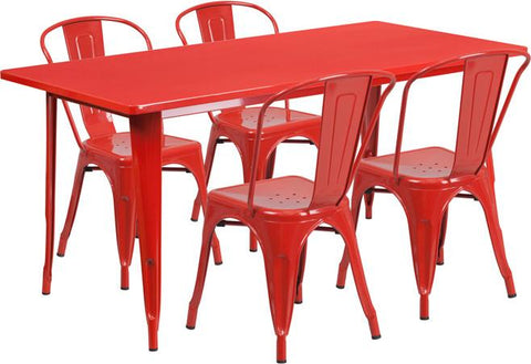 Flash Furniture ET-CT005-4-30-RED-GG 31.5'' x 63'' Rectangular Red Metal Indoor Table Set with 4 Stack Chairs - Peazz Furniture
