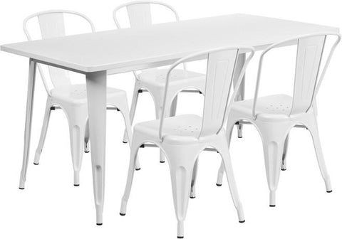 Flash Furniture ET-CT005-4-30-WH-GG 31.5'' x 63'' Rectangular White Metal Indoor Table Set with 4 Stack Chairs - Peazz Furniture
