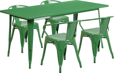 Flash Furniture ET-CT005-4-70-GN-GG 31.5'' x 63'' Rectangular Green Metal Indoor Table Set with 4 Arm Chairs - Peazz Furniture