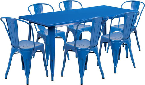Flash Furniture ET-CT005-6-30-BL-GG 31.5'' x 63'' Rectangular Blue Metal Indoor Table Set with 6 Stack Chairs - Peazz Furniture