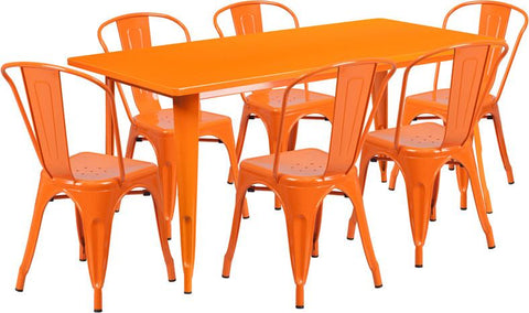 Flash Furniture ET-CT005-6-30-OR-GG 31.5'' x 63'' Rectangular Orange Metal Indoor Table Set with 6 Stack Chairs - Peazz Furniture