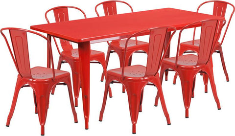 Flash Furniture ET-CT005-6-30-RED-GG 31.5'' x 63'' Rectangular Red Metal Indoor Table Set with 6 Stack Chairs - Peazz Furniture