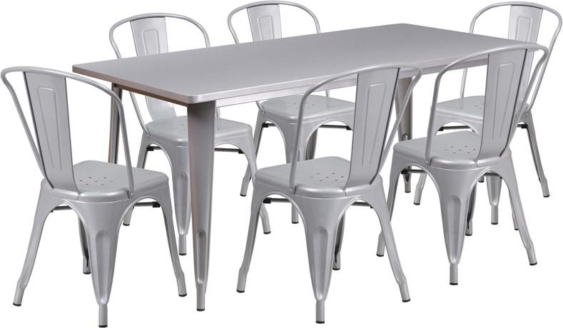 Silver Metal Indoor Table Set Stack Chairs Rectangular 3237 Product Photo