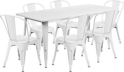 Flash Furniture ET-CT005-6-30-WH-GG 31.5'' x 63'' Rectangular White Metal Indoor Table Set with 6 Stack Chairs - Peazz Furniture