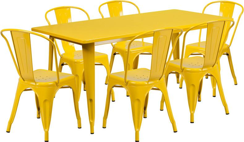 Yellow Metal Indoor Table Set Stack Chairs Rectangular 3237 Product Photo